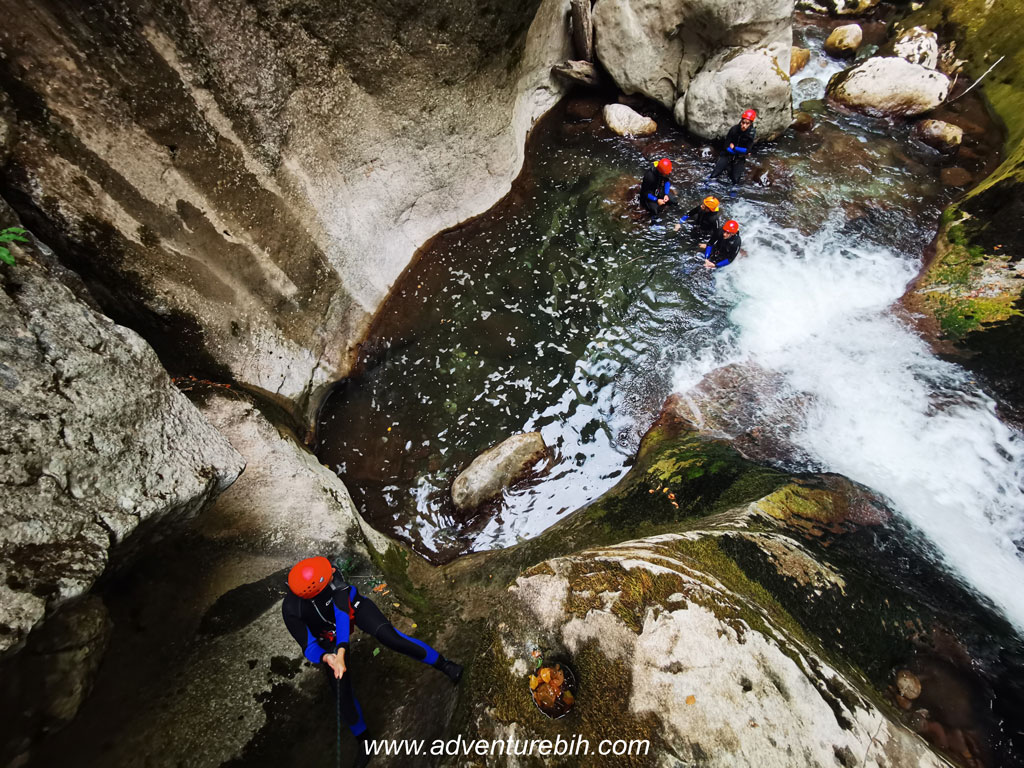 waterfall in canyoneering bosnia and herzegovina